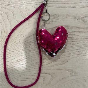 NEW HOT PINK SILVER HEART SHAPE KEYCHAIN